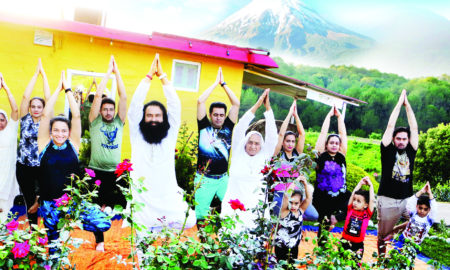 word yoga day:dr msg with his family