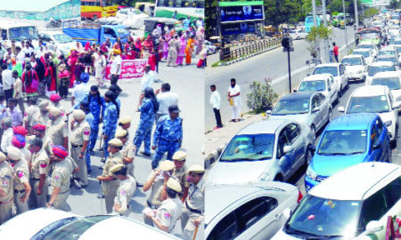 Anganwari workers, Road jams, Protest