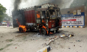 Truck Union, Rampura Phool, burns truck, Protest, Punjab Govt.