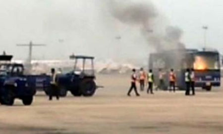 Bus, Fire, Chennai, Airport, Accident