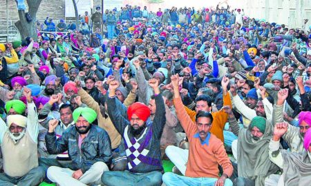 Powercom Workers, Protest, Against, Manpreet Singh Badal, Punjab Govt.