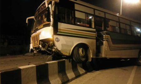 Bus, Disrupted,Balance, Rammed, Into, Driver, 7 Injured