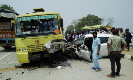 Road, Accident, Bus, Car, Collides, two Die
