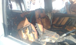 Maruti, Van, Fire, Five Injured, Including, Children
