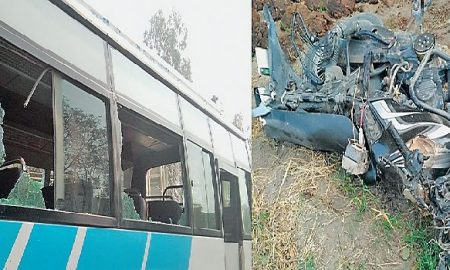 Two People, Died, Direct Collision, Between, Bus, Motorcycle