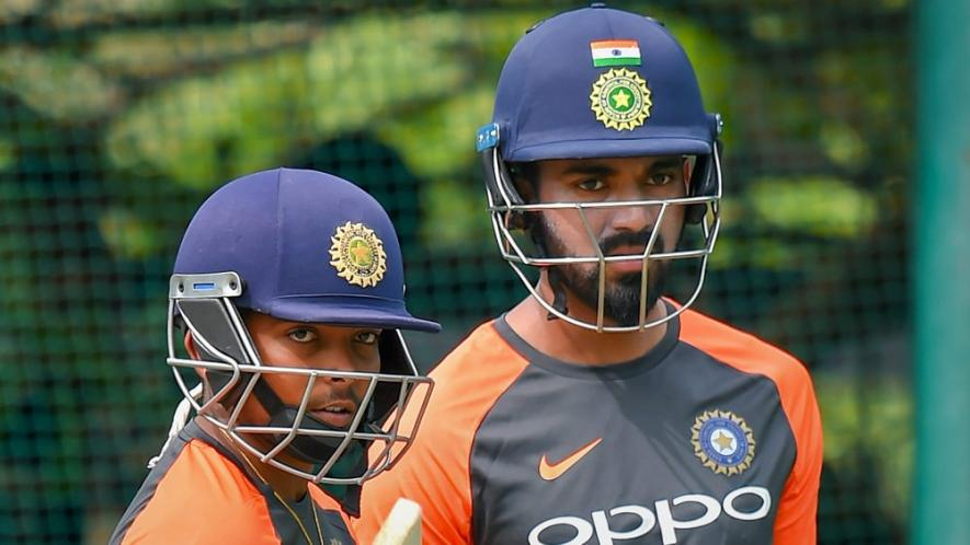 Prithvi-Shaw-and-Lokesh-Rahul-during-a-practice-session-ahead-of-India-West-Indies-second-cricket-test-match-in-Hyderabad