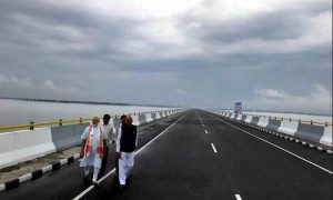 Modi inaugurates the biggest rail-road bridge in the country