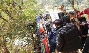 College bus falls into trench in Nepal