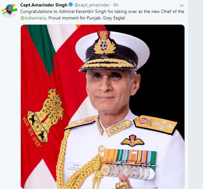Captain, Congratulated, Admiral Karmbir Singh, Head, Navy