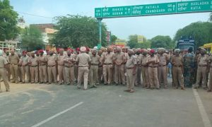 Police  Surrounded, Streets, Mohali, Rally