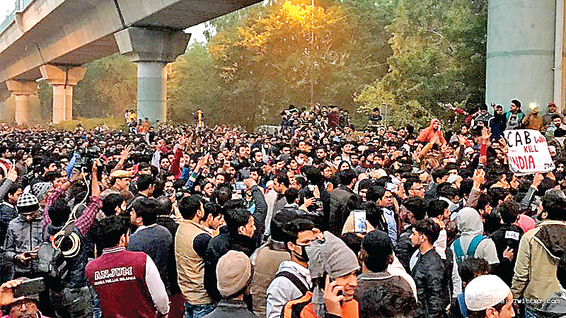 Demonstration , students, Jamia, continues